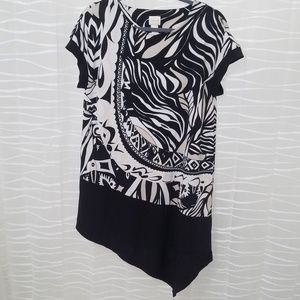 Chico's Black and White Print Blouse